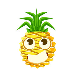 bewildered pineapple face with big eyes cute vector image