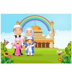 Cartoon happy Muslim family with rainbow vector image
