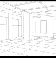 interior office outlined tracing of vector image vector image