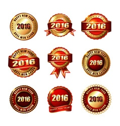 Set of Happy New Year 2015 Golden Label with vector image vector image
