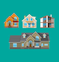 suburban family house countrysdie building set vector image vector image