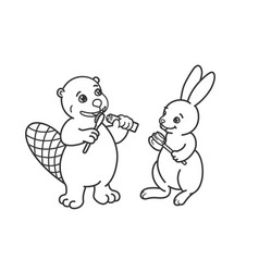 The beaver and the hare are brushing their teeth vector