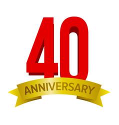 40th anniversary label vector image