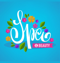 leaves and flower spa lettering composition for vector image