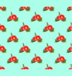 red hollyhock on green mint background vector image vector image
