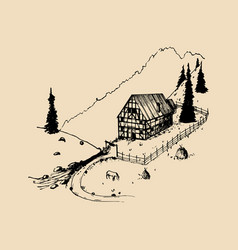 sketch of german countryside homestead peasants vector image