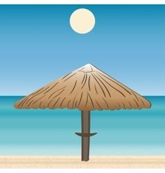 Umbrellas coast horizon landscape vector