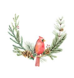 watercolor christmas wreath with bird vector image vector image