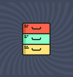 archive icon simple line cartoon vector image