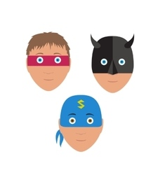 Flat set design of cartoon halloween mask vector image