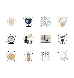 Flat style astronomy icons vector image