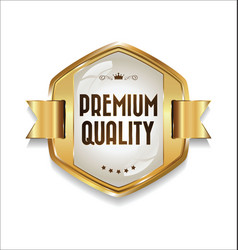 golden retro premium quality badge 2 vector image vector image