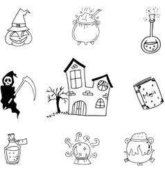 Magic set halloween in doodle vector image