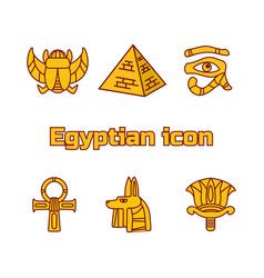 set of design egypt travel icons culture ancient vector image