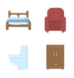 a bed an armchair a toilet a wardrobe vector image