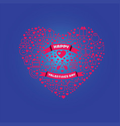 greeting card for happy valentine s day love vector image vector image