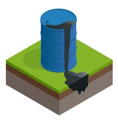 isometric oil spill or waste oil barrel vector image