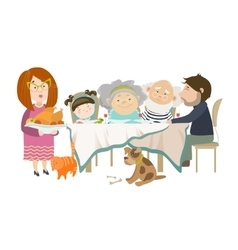 Portrait of big family sitting at the table vector image vector image
