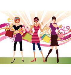 shopping fashion girls vector image vector image