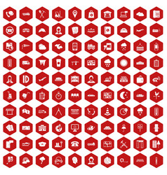 100 dispatcher icons hexagon red vector