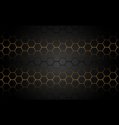 abstract yellow light hexagon line in grey modern vector image