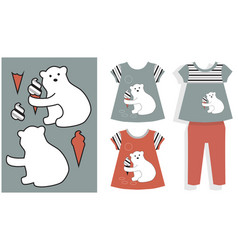 applique white bear and ice cream vector image