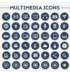 Big Multimedia icon set vector image