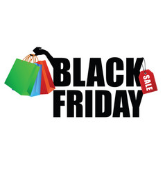 black friday with paper bag in hand vector image