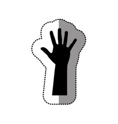black hand up icon vector image