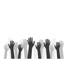 Black hands up like volunteer crowd vector