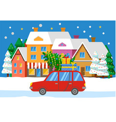 car with fir on road cityscape with buildings vector image