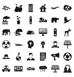 Care of ecology icons set simple style vector