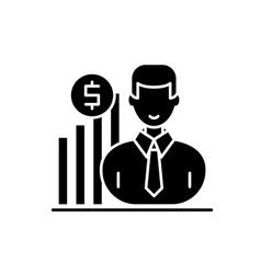 Career growth manager black icon sign on vector