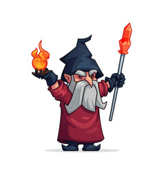 Cartoon evil wizard or bad magician icon vector