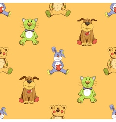 cat dog and rabbit background pattern vector image