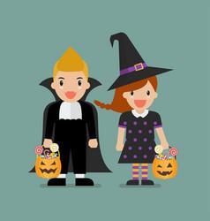 children with pumpkin basket dressed in halloween vector image
