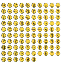 Coin with currency symbol icon set vector