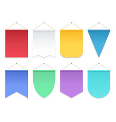 Color pennant triangle hanging banners and flags vector