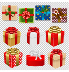 colorful gift box set isoiated vector image