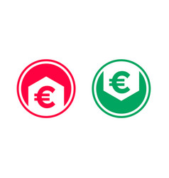 Cost price decrease grow euro arrow icon vector