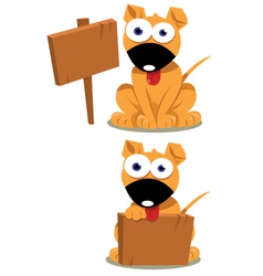 Cute dog and wooden signs vector