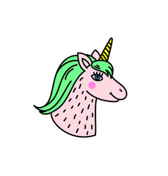 Cute handdrawn unicorn head vector