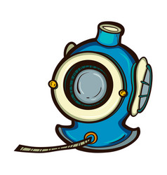 Diving helmet isolated equipment deep sea diver vector
