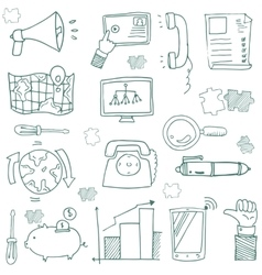 Doodle of hand draw business icon set vector