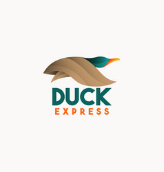 Duck express logo icon template design vector