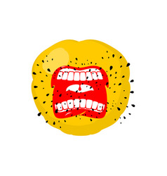 emoticon screams open mouth and teeth crazy emoji vector image