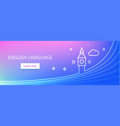English language learning banner vector
