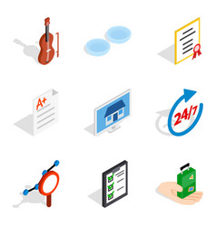Experimental place icons set isometric style vector