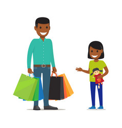 Family on shopping father and daughter characters vector