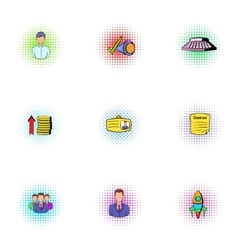 Firm icons set pop-art style vector image